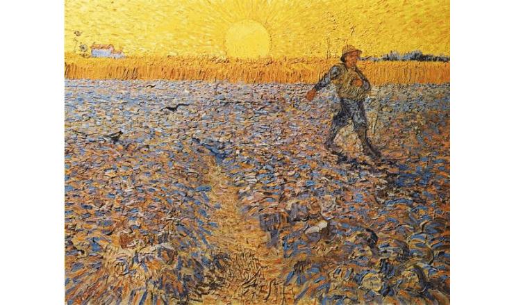 沈む太陽と種を蒔く人