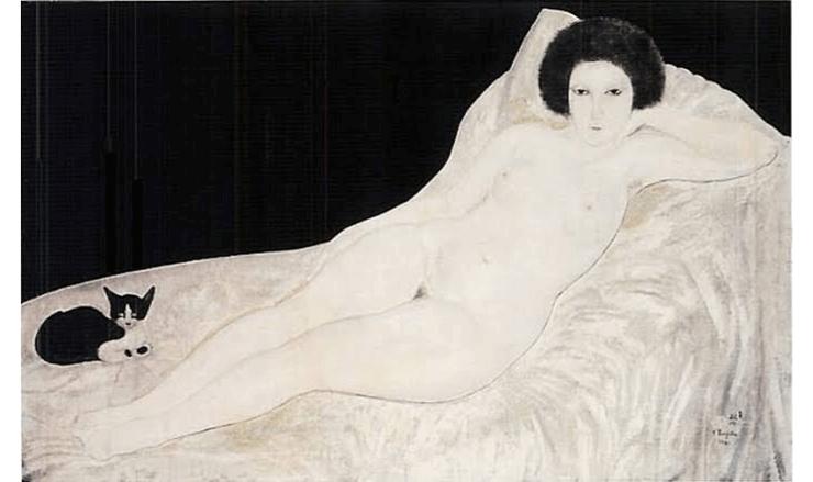 藤田嗣治の横たわる裸婦と猫