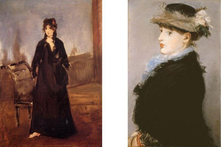 バラ色のくつ(ベルト・モリゾー)・灰色の羽根帽子の婦人