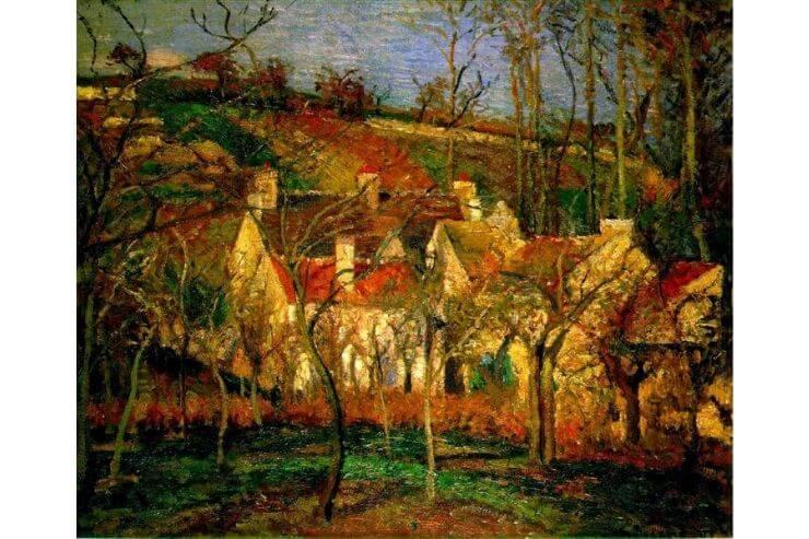 ピサロ・赤い屋根、村のはずれ、冬