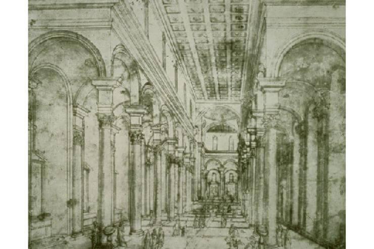 「サント・スピリト聖堂」の透視図(上図)