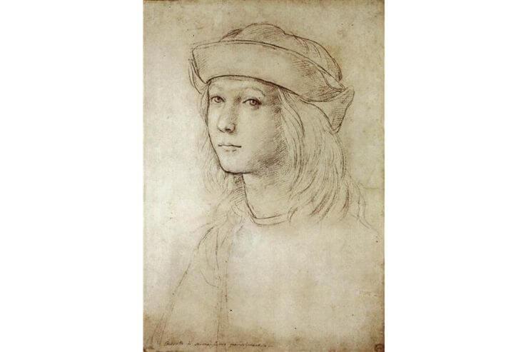 10代のラファエロが描いたと伝えられる「自画像」