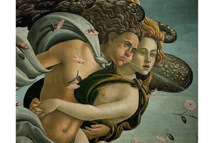 西風の神ゼフィロスと妻のフローラ